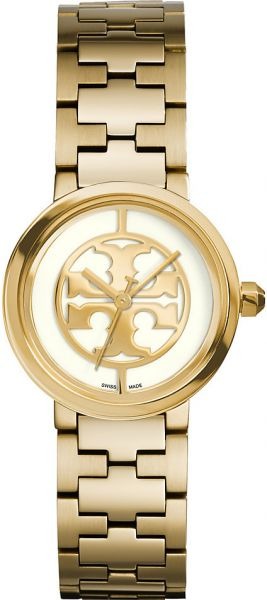 0e8ddb2da Tory Burch Reva Women's Ivory Dial Gold Plated Stainless Steel Band Watch -  TRB4011