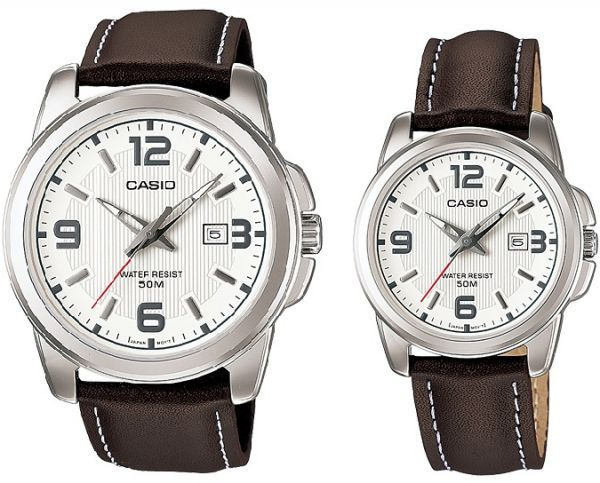 Casio His & Hers White Dial Leather Band Couple Watch - MTP/LTP-1314L-7AV  For Unisex, Analog, Quartz