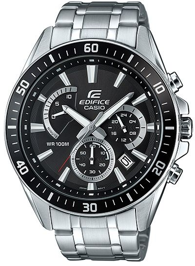 Casio Edifice Men S Black Dial Stainless Steel Band Watch Efr 552d