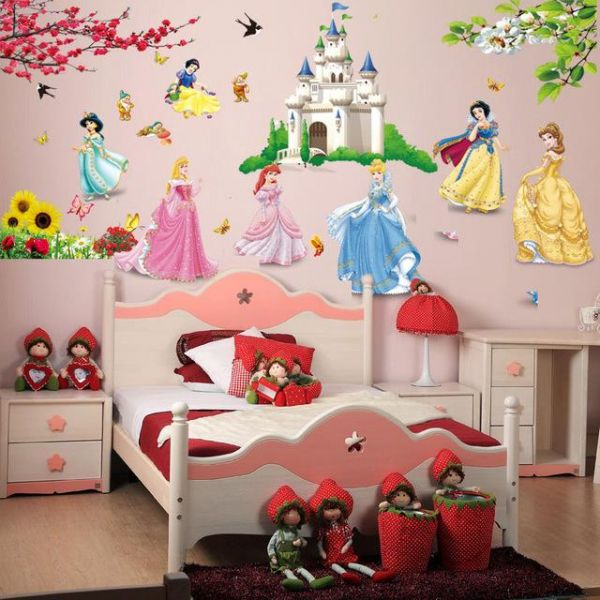 Princess Birds Flower Castle Wall Stickers Home Decor For Kids Rooms