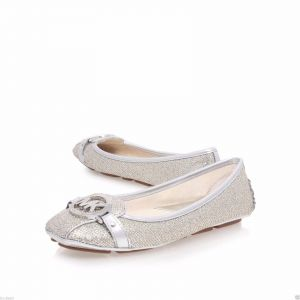 49d894c24b77 Michael Kors Silver Loafers   Moccasian For Women