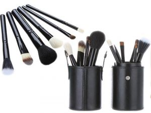 2c8d235e83 12 PCS Cosmetic Makeup Brush Beauty Make Up Brushes Set Tool Kit Wooden  Black Brush Handle With Black PU Leather Cylinder