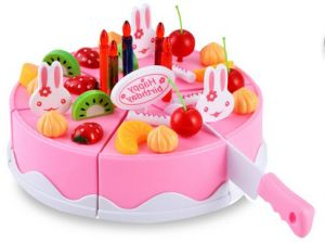 Plastic Kitchen Cutting Toy Birthday Cake Pretend Play Food Set For Kids