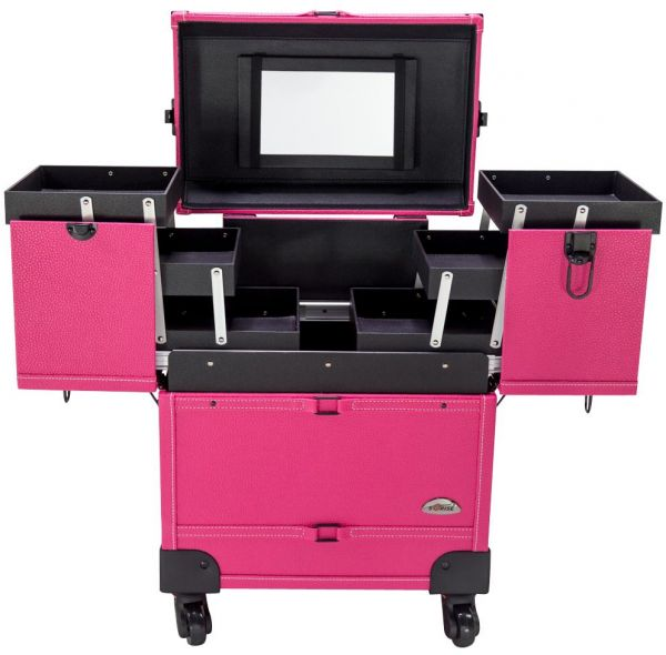 Sunrise Case Professional 4 Wheels Rolling Makeup Cosmetic Train Pink