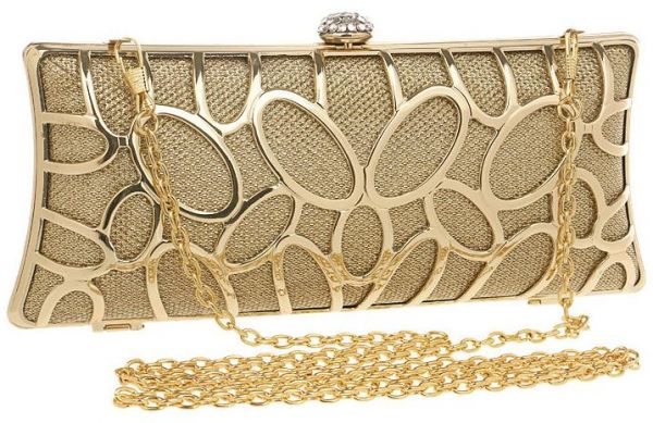 c2786c438a1e Luxury Ladies Clutch Bag Classic Chain Evening Bag - Gold