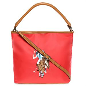 U.S. Polo Assn. USP16P137N Chester Embroidered Hobo Bag for Women - Rouge  Red 3b60d196e0391