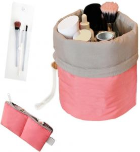 Waterproof Travel Makeup Cosmetic Organizer Toiletry Storage Bag Dresser Pouch Round Cylinder Red