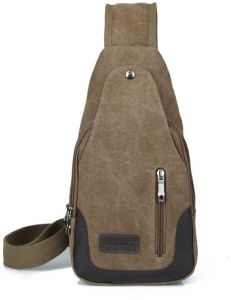 feec325132b9 Men Fashion Canvas Shoulder Bags Sling Bag Chest Shoulder Casual-Brown