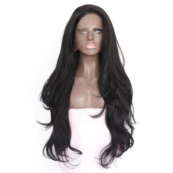 Women Natural Wavy Hair front lace wig deep invisible part wig black color   bc4fa6841