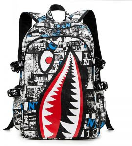 960b09717cdc Personalized Shark Sport Backpack Zip Canvas Travel Outdoor Bag Fashion Student  Bags for Unisex