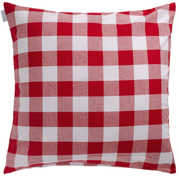 Indes Fuggerhaus Rosi Checkered Decorative Cushion Cover Red 50 X