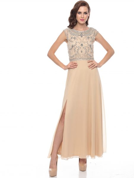 a422ccb1d6461c Frock   Frill Beige Polyester Special Occasion Dress For Women ...