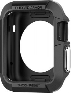 pretty nice 8a5d1 6aed4 Apple Watch Case 38mm, Spigen Rugged Armor, Resilient Shock Absorption  Cover and 2 Screen Protectors - Black (Apple Watch Not Included)