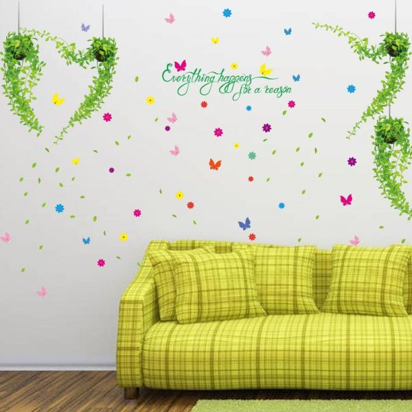 Fresh Flowers With Potted Plants Living Room Stickers Design Wall