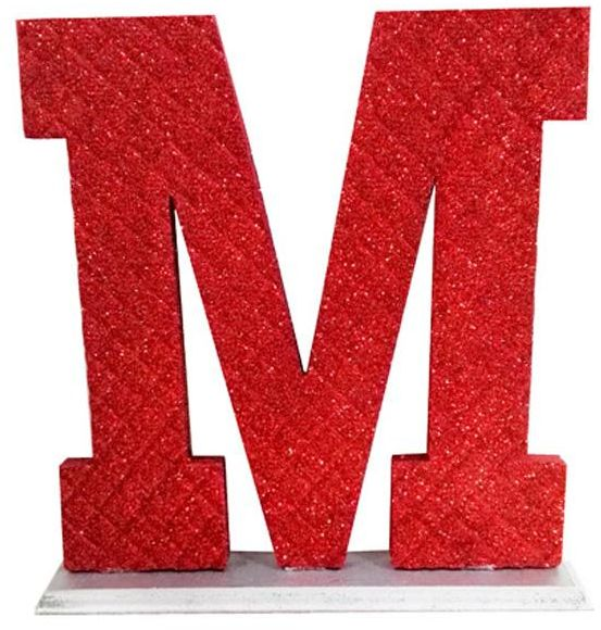 image about M&m Coupon Printable named Decoration Letter M - Crimson