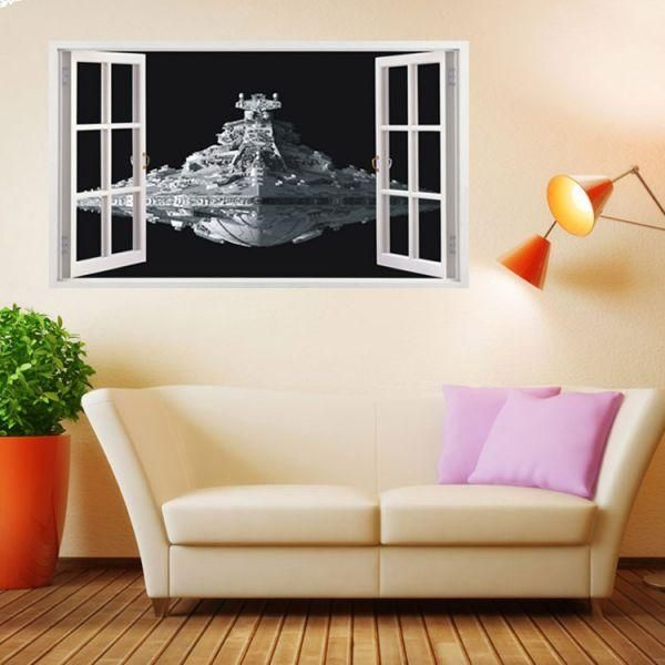 Star Wars Spacecraft 3d Wall Sticker Home Decor False Window Wall