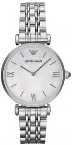 aab12a12aa Emporio Armani Women s Retro Mother of Pearl Dial Stainless Steel Band  Watch - AR1682