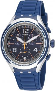 2e7a7265008d5 Swatch Blue Face Men s Dark Blue Dial Silicone Band Watch - YYS4015