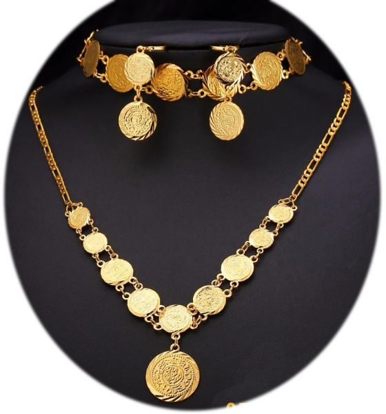 Souq Arabic Gold Plated Jewelry Coin Set Earring Necklace