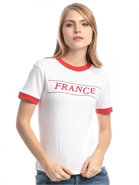 Forever 21 White Red Cotton Round Neck T Shirt For Women Souq Uae