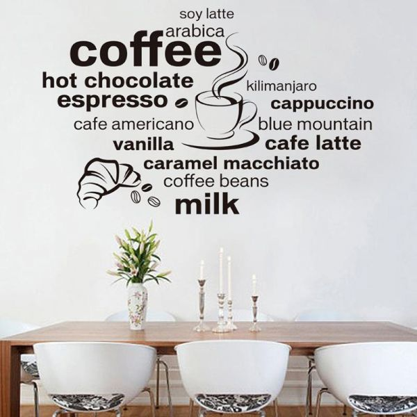 diy simple letters black coffee shop creative wall stickers painting