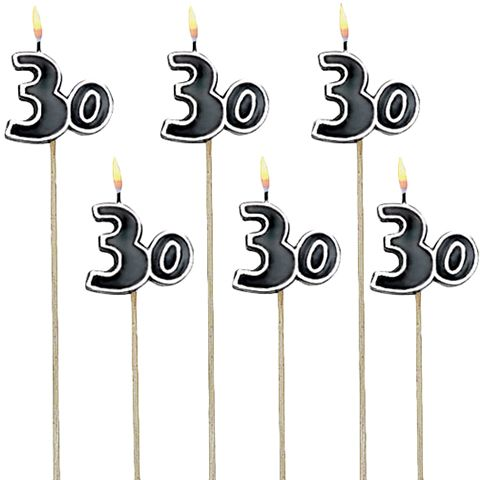 Amscan 30th Birthday Decorative Candle 6 Pieces