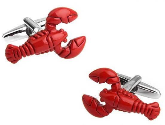 Simple Fashion French Men's Shirts Red Lobster Cufflinks Cuff Links
