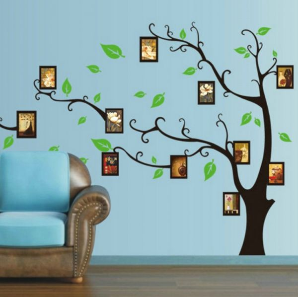 removable diy black photo picture frames collage birds tree branch
