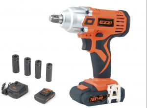 Ezzi Cordless Impact Wrench - 18 V (Li-Ion Battery + Extra Battery)
