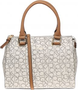a6149c9a6f Calvin Klein Faux Leather Bag For Women,Beige - Satchels Bags