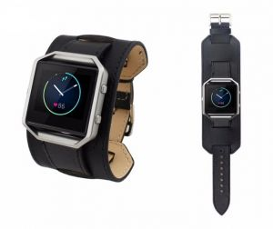 Black Cuff Watchbands Leather Bracelet Watch Band Strap for Fitbit Blaze With Buckle Connector