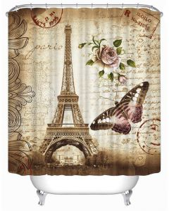 Eiffel Tower Butterfly And Flower Print Shower Curtain Waterproof Midew Bath With 12 Hooks 72x72 Inch