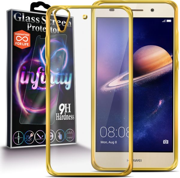 Glowing Silicon Cover for Huawei Y6ii - Clear\Gold Plus Infinity Glass  Screen Protector