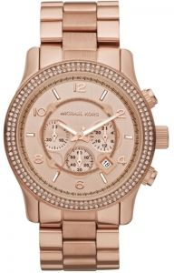 1496aabcb Michael Kors Chronograph Rose Gold Toned Stainless Steel Watch for Women