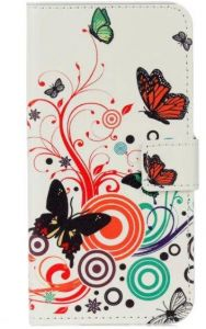 Samsung Galaxy A5 2017 - Pretty Magnet PU Leather Wallet Card Slot Case Cover -White Butterfly