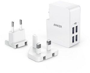 USB Charger Anker 27W 4-Port USB Wall Charger PowerPort 4 Lite with Interchangeable UK and EU Plugs for iPhone 7 / 6 / 6 Plus / 7 Plus, iPad Air 2 / mini 3, ...