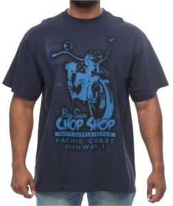 626 Blue Big and Tall Vintage Big Sur Motorcycle Print Short Sleeve T-Shirt  for Men - Navy Blue