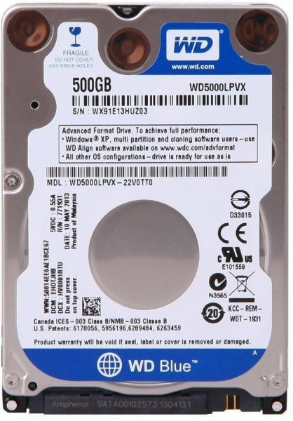 WD Blue 500GB PC Mobile Hard Drive 25 HDD For Laptop 5400RPM