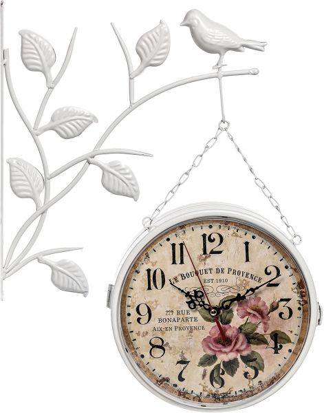 Double Sided Hanging Wall Clock With Bird And Leaves White Souq Uae