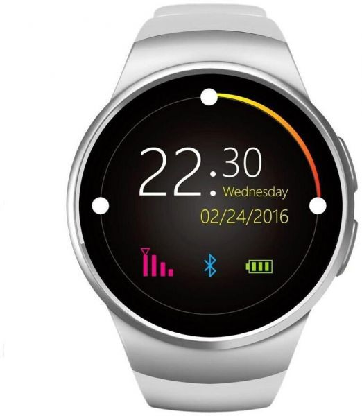 Kingwear KW18 Bluetooth Touch Screen Smartwatch with SIM/TF Card & Heart Rate Pedometer - Silver