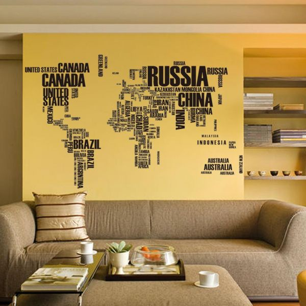 English letters decorative painting world map wallpaper large ...