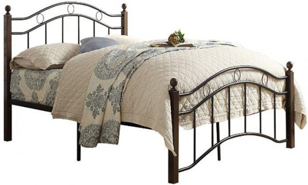 King Size Wooden Steel Bed With Medicated Mattress Mahogany Legs