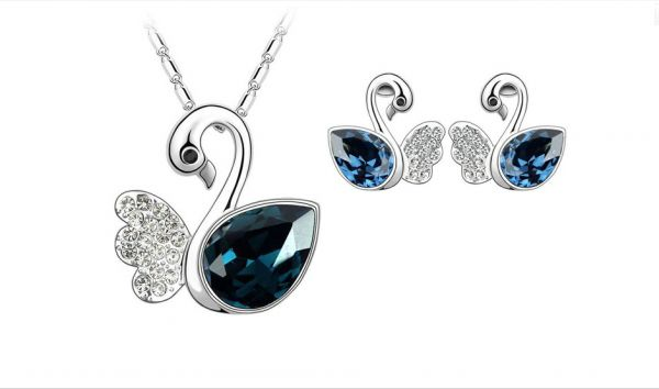 2efef285b6 Swarovski Elements 18K White Gold Plated Jewelry Set encrusted with ...