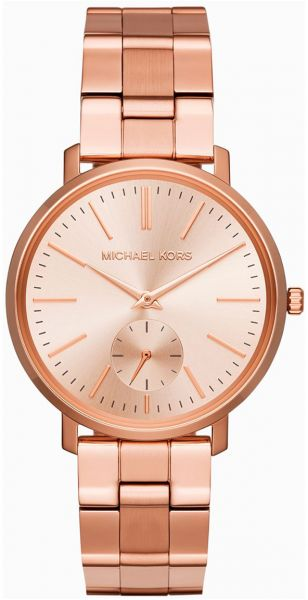 Michael Kors Jaryn Women S Rose Gold Dial Stainless Steel Band Watch
