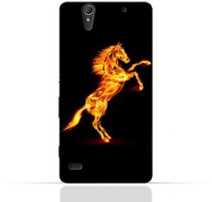 Sony Experia C4 TPU Silicone Case with Horse on Flame