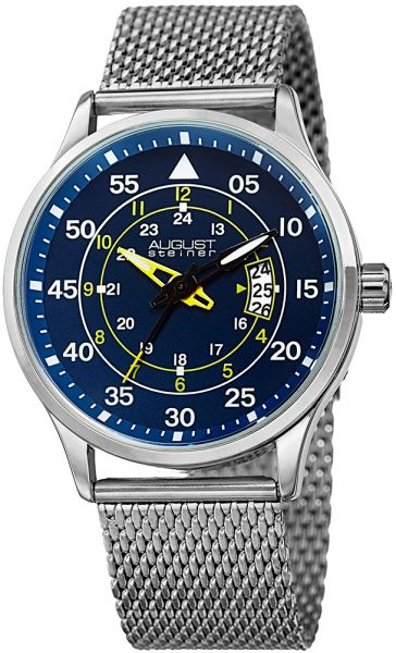 August Steiner Mens Blue Dial Stainless Steel Band Watch - AS8223SSBU