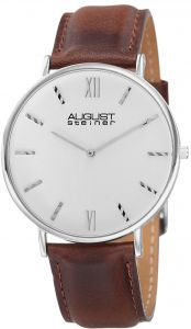 August Steiner Classic Men s White Dial Leather Band Watch - AS8166SSBR be2a908a9a3f3
