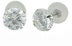 51e395958 Golden Choice 14K Solid White Gold 3mm Brilliant Clear Cubic Zirconia Stud  Earrings