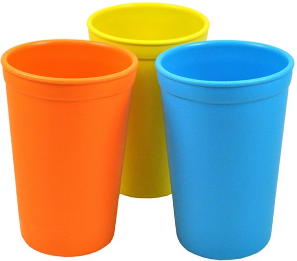 souq re play 3 pack drinking cups sky blue orange and yellow