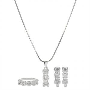 055af1092 AK Jewels Silver 925 Line Baguette with CZ Jewelry Set - 4 Pieces